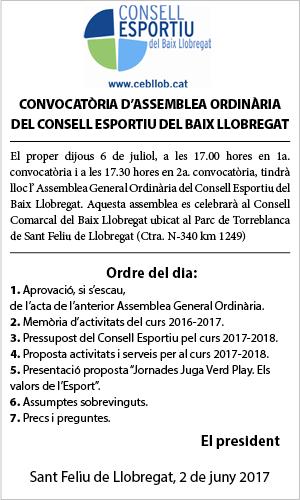 ASSEMBLEA ORDINARIA CONSELL ESPORTIU BAIX LLOBREGAT JULIOL 2017