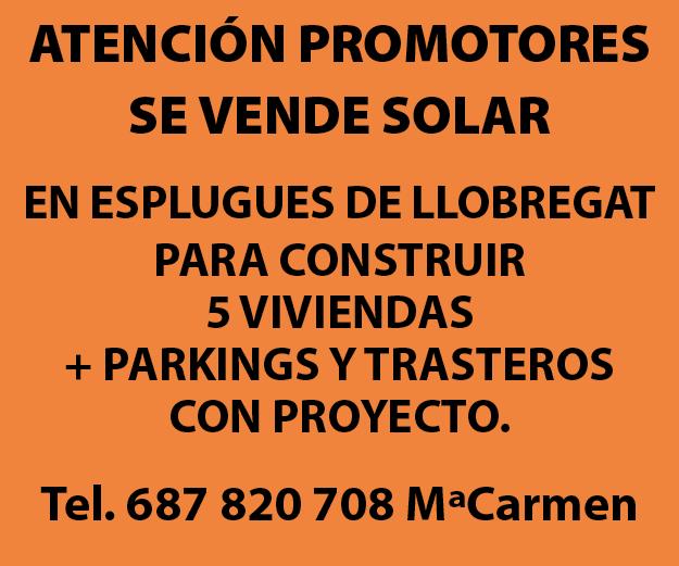 ¡Atención promotores! SE VENDE Solar en Esplugues de Llobregat  para construir 5 viviendas + parkings y trasteros con proyecto.